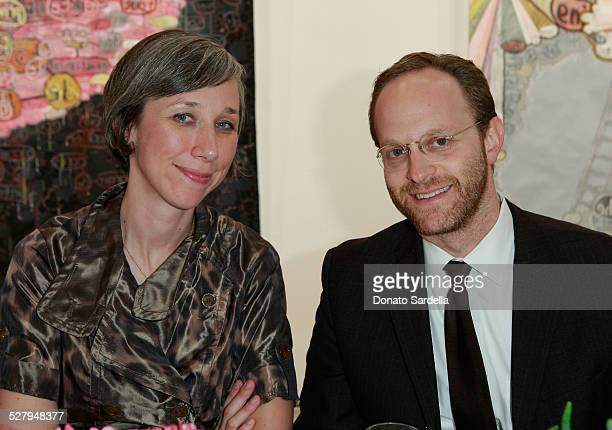 Artist Alexandra Grant and Ari Weisman attend the Vogue and Mulberry Host Dinner to Celebrate Alexandra Grant Exhibition on September 23 2008 in Los...