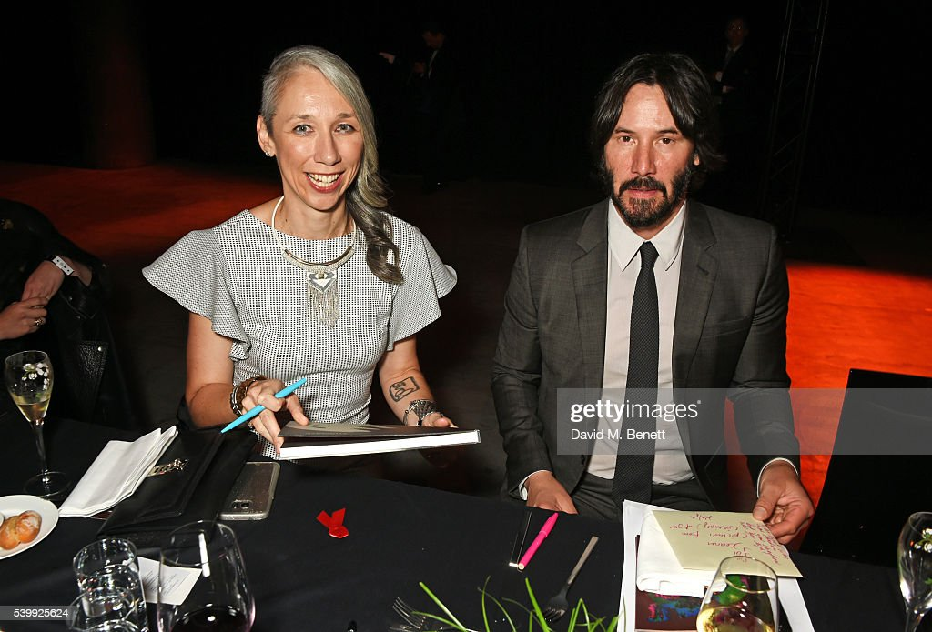 Artist Alexandra Grant and Keanu Reeves attend the UNAIDS ...