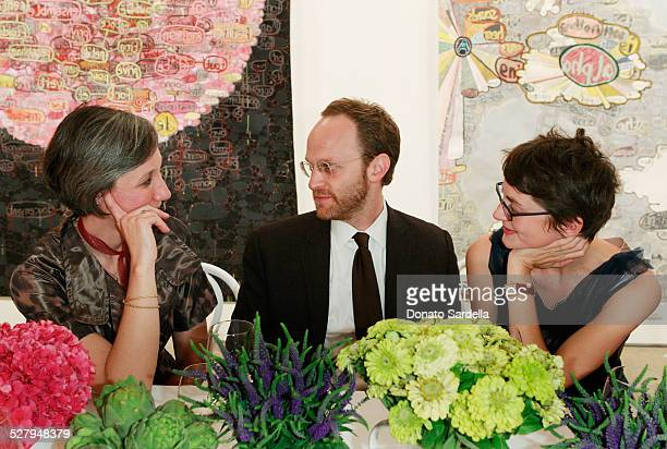 Artist Alexandra Grant Ari Weisman and Honor Fraser attend the Vogue and Mulberry Host Dinner to Celebrate Alexandra Grant Exhibition on September 23...