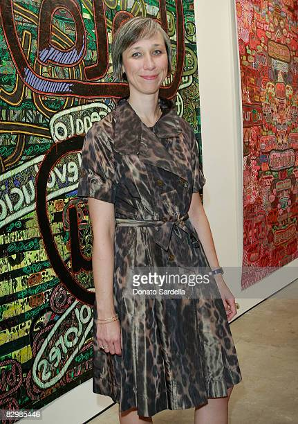 Artist Alexandra Grant attends a dinner hosted by Vogue and Mulberry celebrating her paintings on display at the 'Some Paintings' exhibition...