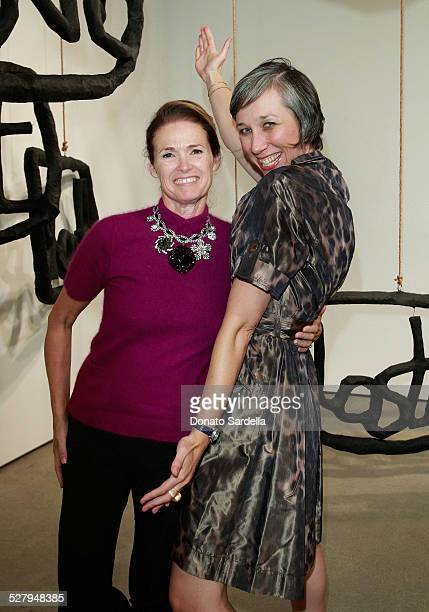 Artist Alexandra Grant poses with Vogue west coast editor Lisa Love at a dinner hosted by Vogue and Mulberry celebrating the work of Alexandra Grant...