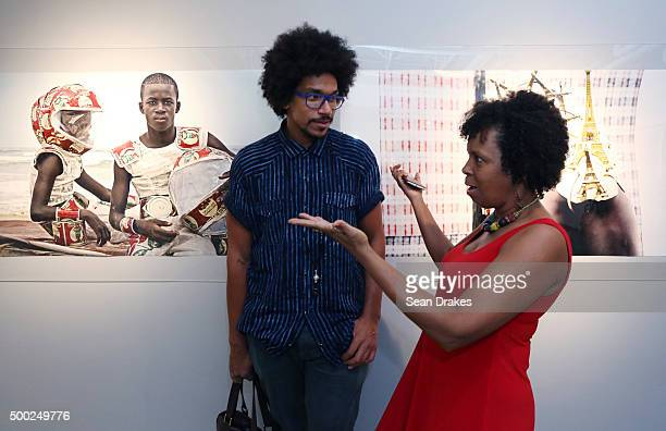 Artist Alexis Peskine and Yolanda English at the PRIZM art fair in the Little Haiti art district during Art Basel Miami Beach on December 05 2015 in...