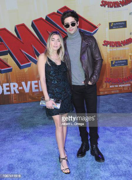 Artist Allie Kaplan and actor Max Ehrich arrive for the World Premiere Of Sony Pictures Animation And Marvel's 'SpiderMan Into The SpiderVerse' held...