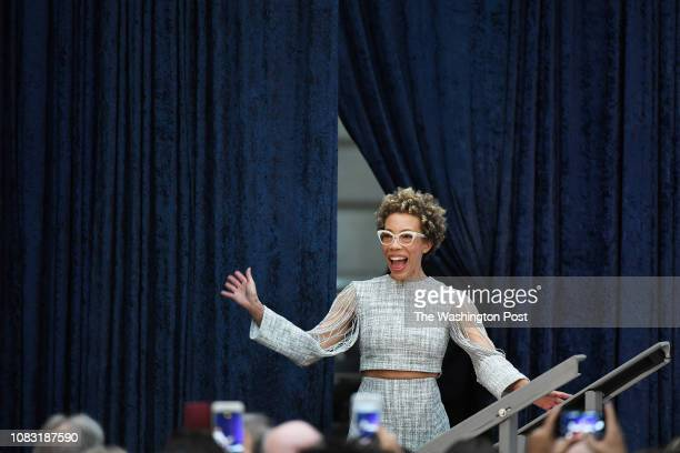 Artist Amy Sherald is introduced during an event as former President Barack Obama and former First Lady Michelle Obama have their portraits unveiled...