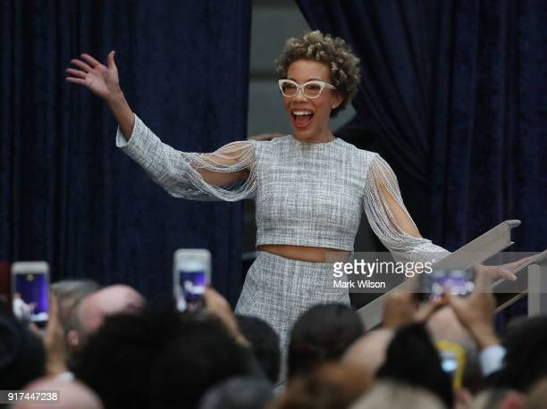 Artist Amy Sherald is introduced during the official portrait unveiling of former US President Barack Obama and first lady Michelle Obama during a...