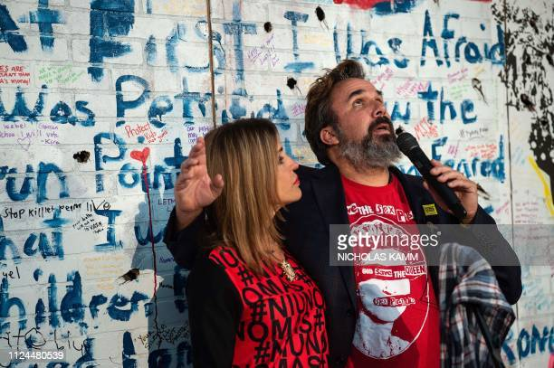 Artist and antigun activist Manny Oliver and wife Patricia the parents of Stoneman Douglas High School shooting victim Joaquin Oliver speak during...