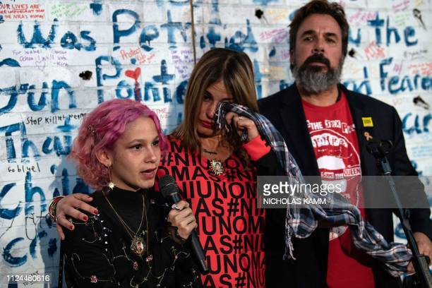 Artist and antigun activist Manny Oliver and wife Patricia the parents of Stoneman Douglas High School shooting victim Joaquin Oliver listen as...