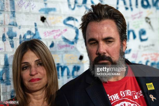 Artist and antigun activist Manny Oliver and wife Patricia the parents of Stoneman Douglas High School shooting victim Joaquin Oliver react as...