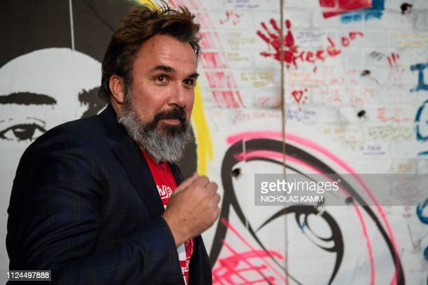 Artist and antigun activist Manny Oliver whose son Joaquin Oliver was killed in the Stoneman Douglas High School shooting arrives to speak at the...