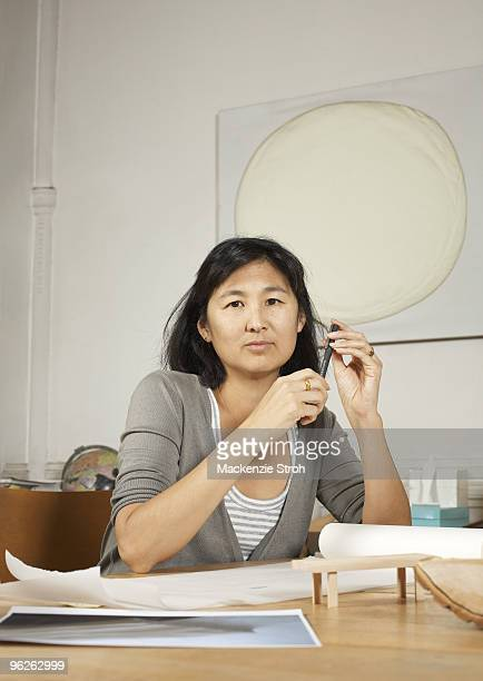 Artist and architect Maya Lin poses for a portrait session at her studio in 2008