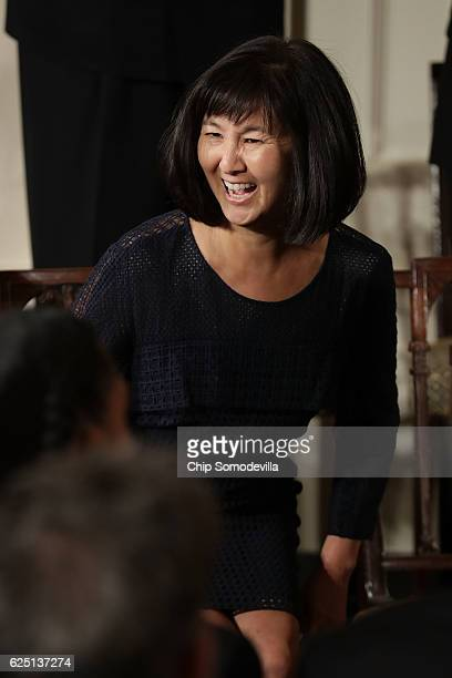 Artist and architect Maya Lin smiles before being awarded the Presidential Medal of Freedom by US President Barack Obama during a ceremony in the...