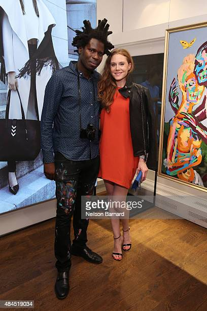 Artist and curator Bradley Theodore and actress Christiane Seidel attend the Mackage X Bradley Theodore presenting 'The Underground Artist' curated...