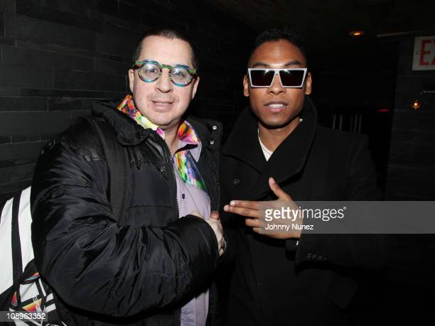 Artist and designer Noah G Pop and Grammy nominated recording artist Miguel attend the Miguel Meet and Greet at Butter on February 9 2011 in New York...
