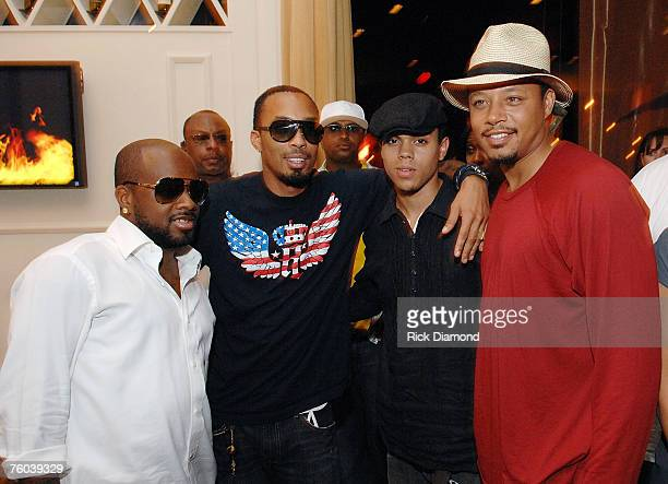 Artist and Producer Jermaine Dupri Artist Producer and Film Maker Dallas Austin Evan Ross Son of Diana Ross and Actor Terrence Howard Celebrate Chris...
