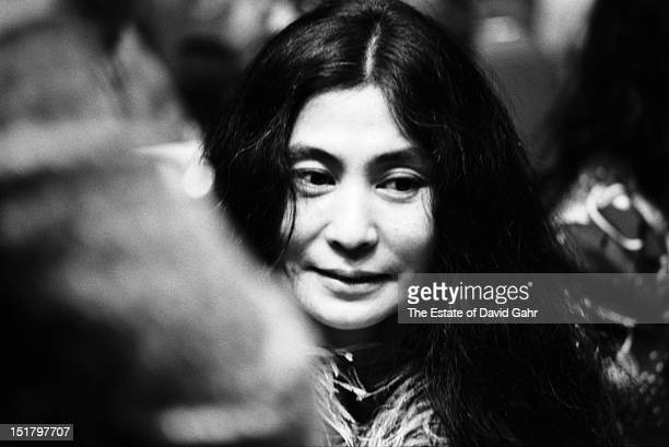 Artist and singer Yoko Ono attends a performance by Bob Dylan and The Band at Madison Square Garden in January 1974 in New York City New York The...
