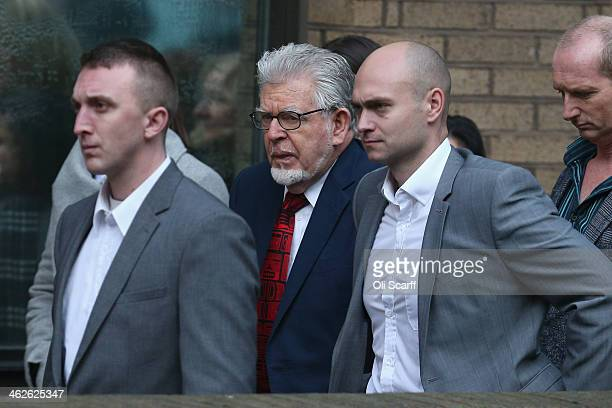 Artist and television personality Rolf Harris arrives at Southwark Crown Court on January 14 2014 in London England Mr Harris who was arrested in...