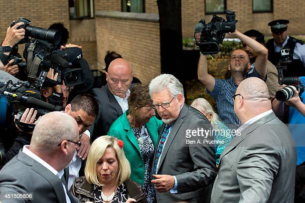 Artist and television personality Rolf Harris leaves court after being found guilty of 12 indecent assault charges at Southwark Crown Court after a...