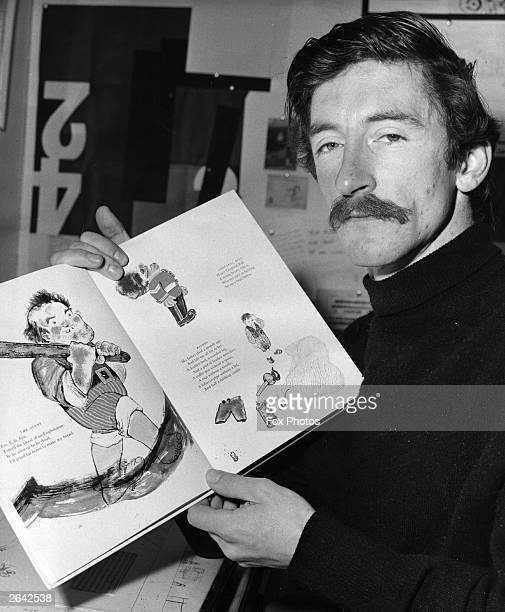 Artist and writer Raymond Briggs with some of his prize winning illustrations from the children's book 'The Mother Goose Treasury'