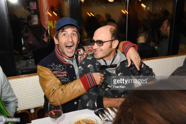 Artist Andre Saraiva and Lionel Bensemoun attend the Dinner at 'Le Bouillon' Restaurant as part 2 of 'Les Fooding 2018' Cocktail at Les Follies...