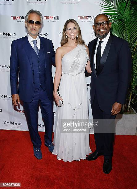 Artist Andrea Bocelli Her Royal Highness Princess Madeleine of Sweden and actor Forest Whitaker attend World Childhood Foundation USA Thank You Gala...