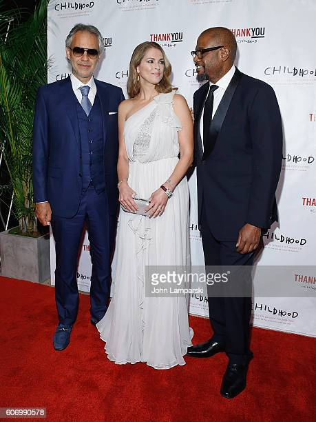 Artist Andrea Bocelli HRH Princess Madeleine and Forest Whitaker attend World Childhood Foundation USA Thank You Gala 2016 at Cipriani 42nd Street on...
