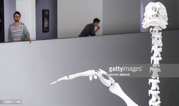 Artist Andreas Greiner stands in front of an oversized replica of a broiler skeleton at Berline Galerie in Berlin, Germany, 9 September 2016. The...