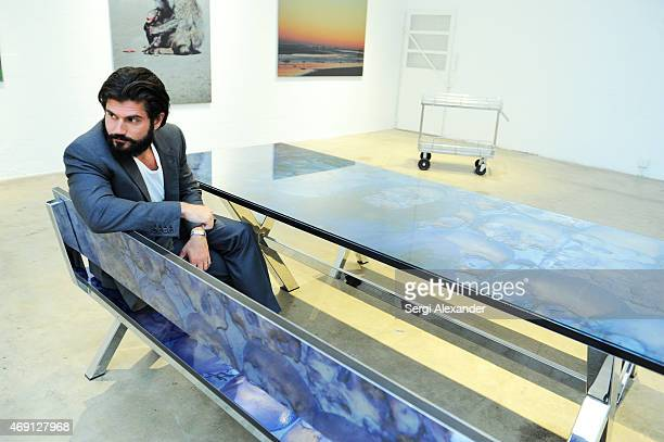 Artist Andrew Levitas attends Andrew Levitas Metalwork Playground Private Dinner at Blueshift Wynwood on April 9 2015 in Miami Florida