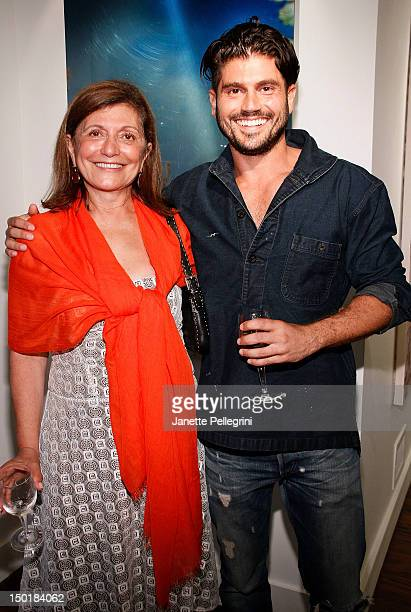 Artist Andrew Levitas with mother Laila Levitas attend Andrew Levitas Metalwork Photography Sculptures opening at Gallery Valentine on August 11 2012...