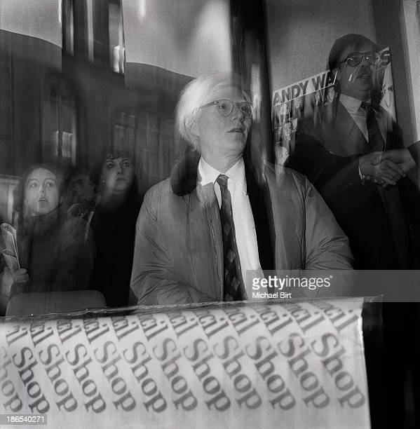 Artist Andy Warhol is photographed in London England