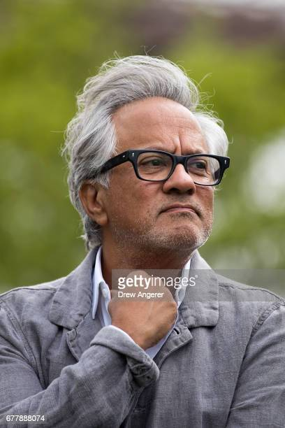 Artist Anish Kapoor attends the unveiling of his art installation titled 'Descension' in Brooklyn Bridge Park May 3 2017 in New York City The...
