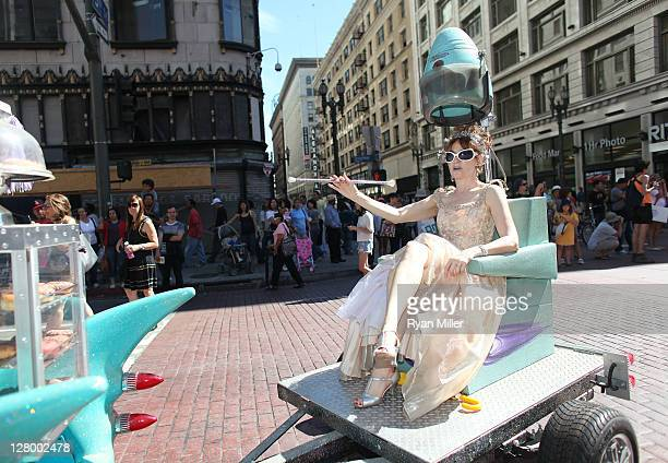 Artist Ann Magnuson on her float during the Trespass Parade through downtown Los Angeles and ending at the Museum of Contemporary Art to celebrate...