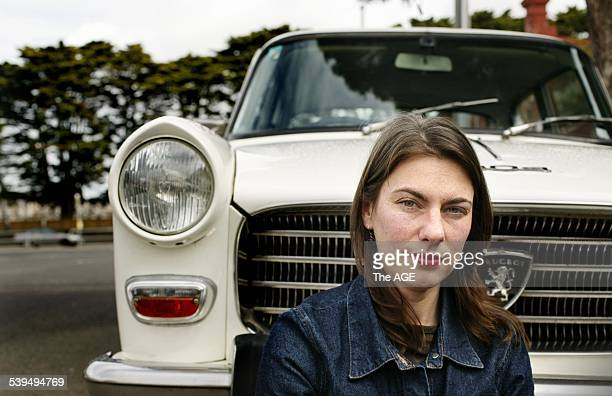Artist Anna Farago with her father's Peugeot 404 Taken 13 September 2004 THE AGE A3 Picture by RODGER CUMMINS
