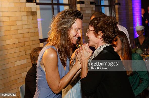 Artist Anne de Carbuccia and guest attend ONE One Planet One Future at Bank Street Theater on September 13 2016 in New York City