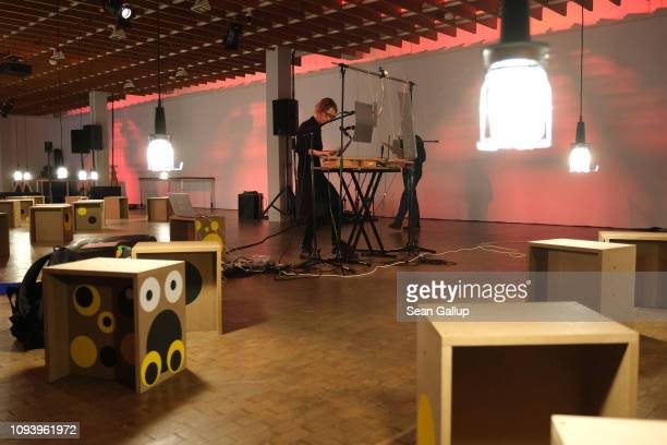 Artist Annette Krebs practices performing her sound installation 'Konstruktion 3' at 'Bauhaus 100 Years during the Opening Festival' at a press...