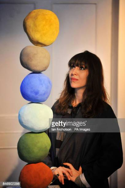 Artist Annie Morris looks at her work 'Stacks' at the launch of her exhibition 'There is a land called loss' which opens February 3 at the Pertwee...