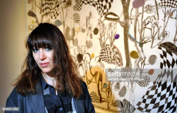 Artist Annie Morris with the signature work from her exhibition 'There is a land called loss' which opens February 3 at the Pertwee Anderson and Gold...
