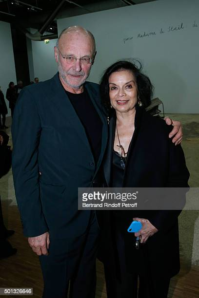 Artist Anselm Kiefer and Actress Bianca Jagger attend the Anselm Kiefer's Exhibition Press Preview held at Centre Pompidou on December 14 2015 in...