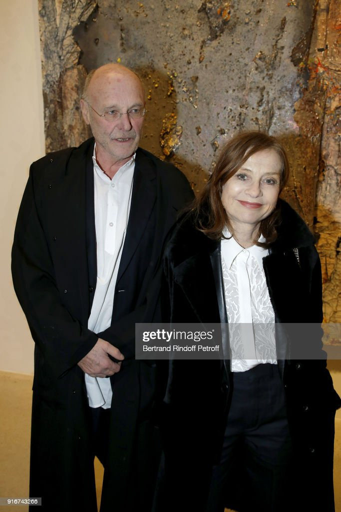 Artist, Anselm Kiefer and Actress, Isabelle Huppert attend the 'Fur Andrea Emo' Anselm Kiefer's Exhibition at Thaddeus Ropac Gallery on February 10, 2018 in Paris, France.