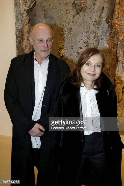 Artist Anselm Kiefer and Actress Isabelle Huppert attend the 'Fur Andrea Emo' Anselm Kiefer's Exhibition at Thaddeus Ropac Gallery on February 10...