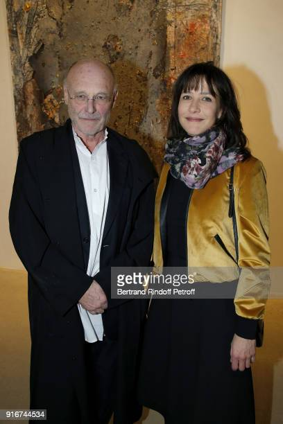 Artist Anselm Kiefer and Actress Sophie Marceau attends the 'Fur Andrea Emo' Anselm Kiefer's Exhibition at Thaddeus Ropac Gallery on February 10 2018...