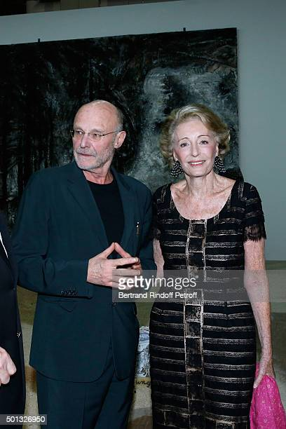 Artist Anselm Kiefer and Ariane Dandois attend the Anselm Kiefer's Exhibition Press Preview held at Centre Pompidou on December 14 2015 in Paris...