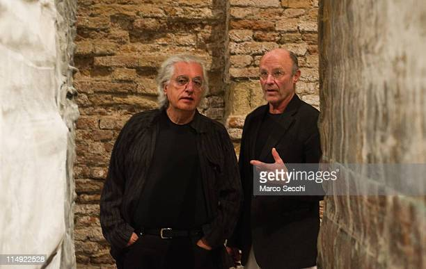 Artist Anselm Kiefer and art critic Germano Celant atthe press preview of the exhibition Sale of the Earth on May 29 2011 in Venice ItalyThe...