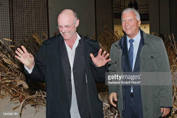Artist Anselm Kiefer and art dealer Larry Gagosian attend a private dinner hosted at Gagosian Gallery in Honor of 'Morgenthau Plan' Exhibition of...