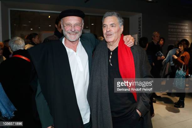Artist Anselm Kiefer and Director of the movie Amos Gitai attend the 'A Tramway in Jerusalem Un Tramway a Jerusalem' Paris Premiere at Centre...