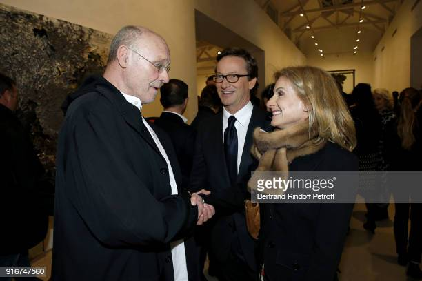 Artist Anselm Kiefer Gallery Director Thaddaeus Ropac and US Ambassador Jamie McCourt attend the 'Fur Andrea Emo' Anselm Kiefer's Exhibition at...