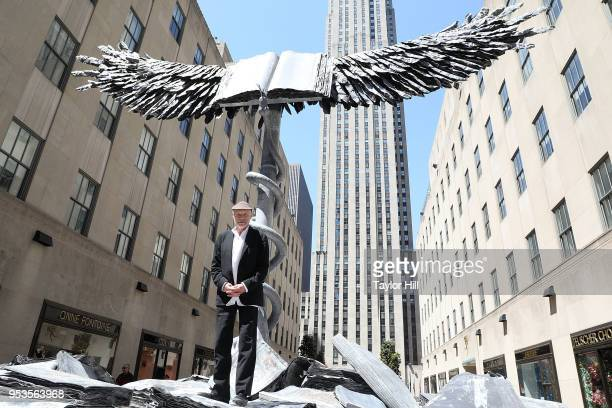 Artist Anselm Kiefer unveils his new sculpture 'Uraeus' at Rockefeller Center on May 1 2018 in New York City