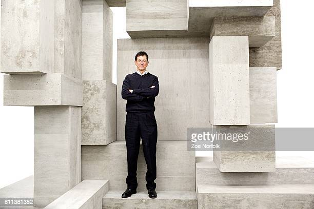 Artist Anthony Gormley with his sculpture titled Block during a press preview for his exhibition Fit at the White Cube Gallery on September 29 2016...