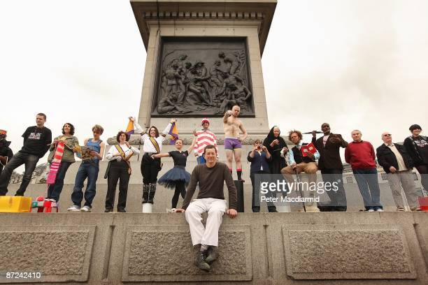 Artist Antony Gormley sits with people who will stand on the empty fourth plinth in Trafalgar Square on May 15 2009 in London Artist Antony Gormley's...