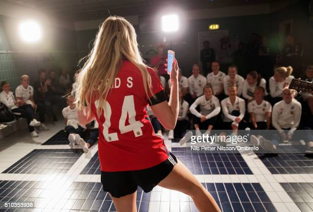 Artist Astrid S performs for the team during a Norway FA Photo Shoot on July 5 2017 at Ulleval in Oslo Norway