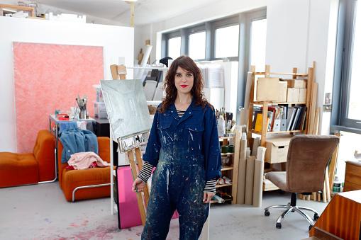 Artist at work in her studio - gettyimageskorea